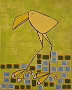 Canary Yellow Painting Prints - Wary Canary Print by Donna Howard