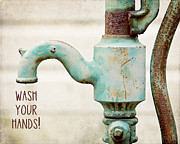 Faucet Metal Prints - Wash Your Hands Childs Bathroom Decor Metal Print by Lisa Russo