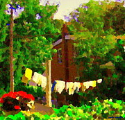 My Back Yard Prints - Washday Hanging Clothing On The Line Cote St Luc Suburban Backyard Scene Quebec Art Carole Spandau Print by Carole Spandau