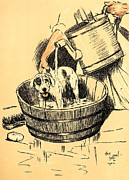 Business Pastels Prints - Washed By Mary - A Dog Day Collection 4 of 27 Print by Cecil Aldin