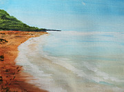 Sea Shore Prints Painting Originals - Washed Footprints by Jack  Brauer