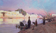 Boats On Water Painting Framed Prints - Washerwomen on the banks of the Nile Framed Print by Eugene Alexis Girardet