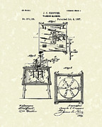 1887 Drawings Prints - Washing Machine 1887 Patent Art Print by Prior Art Design