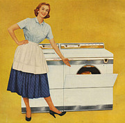 Washing Machines 1950s Usa Housewives Print by The Advertising Archives