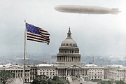 House Of Representatives Photos - Washington Capitol and Blimp by Tony Rubino