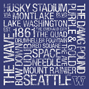 Huskies Photo Posters - Washington College Colors Subway Art Poster by Replay Photos