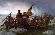 Revolutionary War Paintings - Washington Crossing the Delaware River by Emmanuel Gottlieb Leutze
