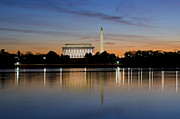 Red Buildings Prints - Washington DC - Lincoln Memorial and Washington Monument Print by Brendan Reals