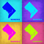 World Map Digital Art Metal Prints - Washington DC Pop Art Map 1 Metal Print by Irina  March
