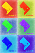 Washington Dc Framed Prints - Washington DC Pop Art Map 3 Framed Print by Irina  March