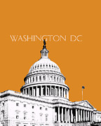 Washington D.c. Digital Art Metal Prints - Washington DC Skyline Capital Building Dark Orange Metal Print by DB Artist