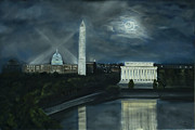 Washington Monument Paintings - Washington DC Under Moonlight by Brandon Hebb