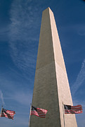 Stars And Stripes.   Posters - Washington Dc Washington Monument  Poster by Anonymous