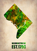 Washington Dc Framed Prints - Washington DC Watercolor Map Framed Print by Irina  March