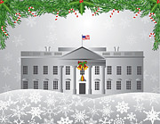 Washington Dc White House Christmas Scene Illustration Print by JPLDesigns