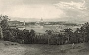 D.w Drawings Framed Prints - Washington from Arlington Heights 1872 Engraving Framed Print by Antique Engravings