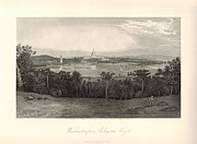 D.w Drawings Framed Prints - Washington from Arlington Heights 1872 Engraving with border Framed Print by Antique Engravings