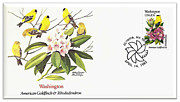 Spinus Tristis Prints - Washington Goldfinch and Rhododendron Stamp Cover Print by Charles Robinson
