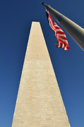 Flag Waver Framed Prints - Washington Monument at US Nation Capital Framed Print by Brandon Bourdages