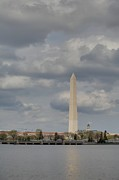 Patriotic Photo Prints - Washington Monument - Cherry Blossoms - Washington DC - 011335 Print by DC Photographer