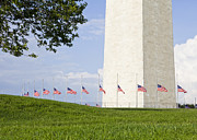 Half Staff Posters - Washington Monument flags half staff Poster by B Christopher