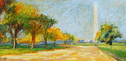Washington Pastels - Washington Monument in  Autumn by Bethany Bryant