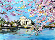 Spring Scenes Originals - Washington Monument in Bloom by Marta Lopez