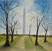 Washington Monument Paintings - Washington Monument in Winter by Judith Rhue