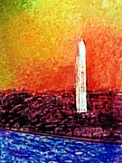 District Mixed Media Framed Prints - Washington Monument Framed Print by Jill Jacobs