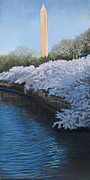 Cherry Blossoms Painting Originals - Washington Monument by Suzanne Shelden