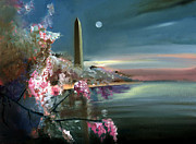 Washington Monument Paintings - Washington Monument Twilight by Neal Cormier