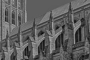 Neo Prints - Washington National Cathedral  BW Print by Susan Candelario