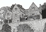 George Washington Drawings Prints - Washington Old Hall in England Print by Brian Thompson