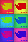 World Map Digital Art Metal Prints - Washington Pop Art Map 1 Metal Print by Irina  March