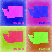 World Map Digital Art Metal Prints - Washington Pop Art Map 2 Metal Print by Irina  March