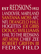 Redskins Posters - Washington Redskins Poster by Jaime Friedman
