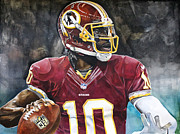 Autograph Framed Prints - Washington Redskins Robert Griffin III Framed Print by Michael  Pattison