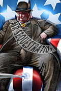 Obama Painting Prints - Washington Sitting Down On The Job Print by Reggie Duffie