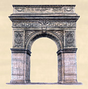 Washington Square Drawings - Washington Square Arch New York City by Gerald Blaikie