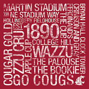 College Mascot Posters - Washington State College Colors Subway Art Poster by Replay Photos