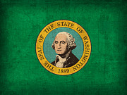 Washington State Prints - Washington State Flag Art on Worn Canvas Print by Design Turnpike