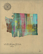 Maps Paintings - Washington State Map by Brian Buckley