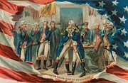 Flag Of Usa Painting Prints - Washington Taking Leave Of His Officers Print by Anonymous