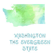 Maps Prints - Washington - The Evergreen State - Map - State Phrase - Geology Print by Andee Photography