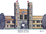 Famous University Buildings Drawings Posters - Washington University St Louis Poster by Frederic Kohli
