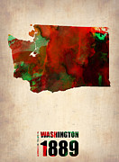 Us State Map Prints - Washington Watercolor Map Print by Irina  March