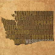 Washington Metal Prints - Washington Word Art State Map on Canvas Metal Print by Design Turnpike