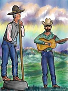 Ranch Pastels Posters - Washtub Jerry at the Cowboy Gathering Poster by Dawn Senior-Trask