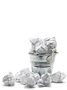 Frustration Sculpture Posters - Waste basket with crumpled papers Poster by Shawn Hempel