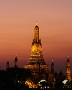 Asian Culture Prints - Wat Arun the Temple of Dawn at sunset Bangkok Print by Fototrav Print